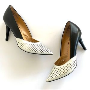 Audrey Brooke Sloane Leather Cut Out Point Heels